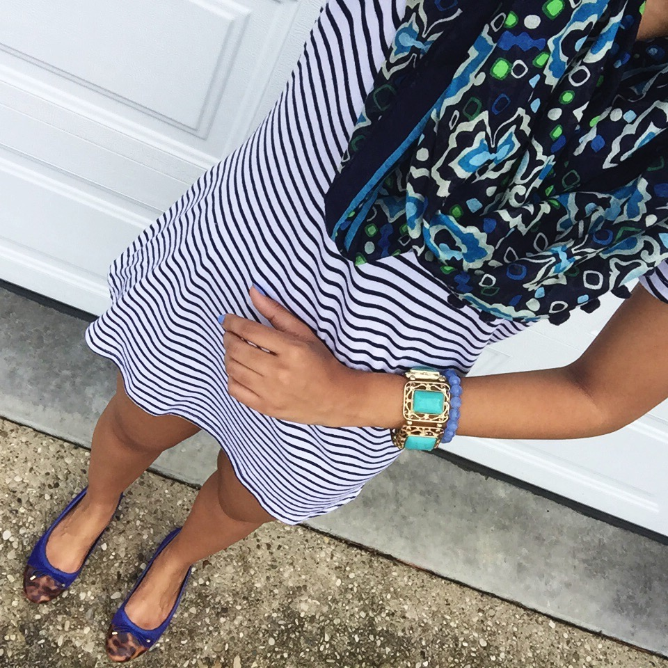 vera bradley infinity scarf + charlotte russe hooded t shirt dress + charming charlie turquoise cuff + clarks flats