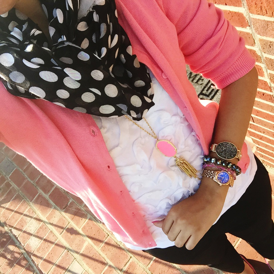 HM Cardigan + White Tee + Polka Dot Scarf + Necklace