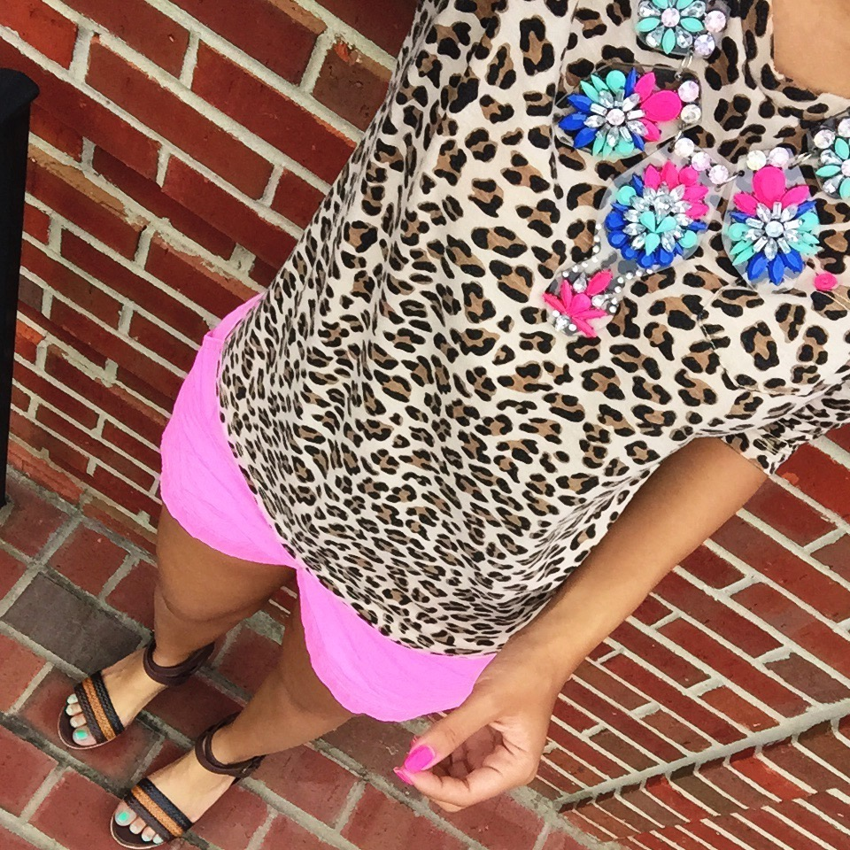 target kids leopard print shirt {old, similar | last seen here} + j crew factory chino shorts {retail version} + target style wedges {old, similar | last seen here} + statement necklace via eBay {similar | last seen here}