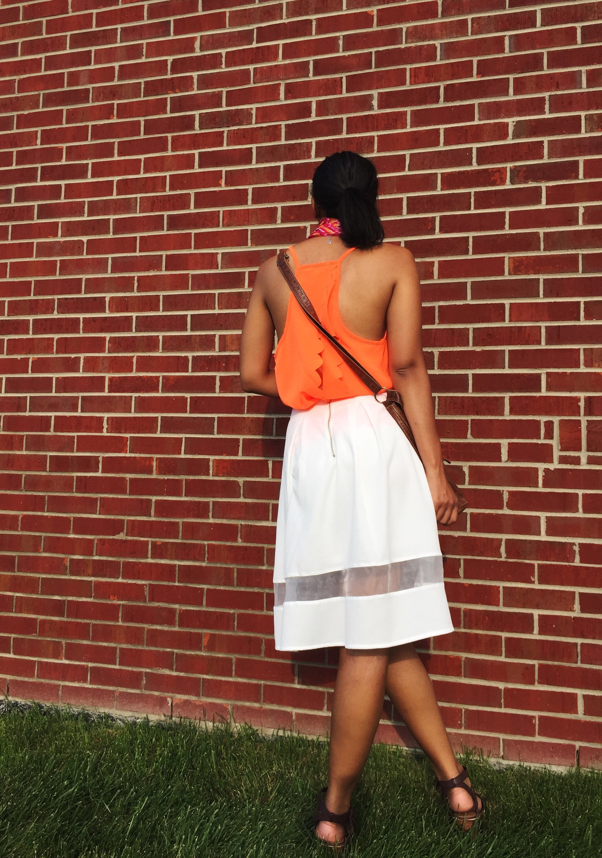 scalloped tank and cut it out skirt in white c/o adorn apparel