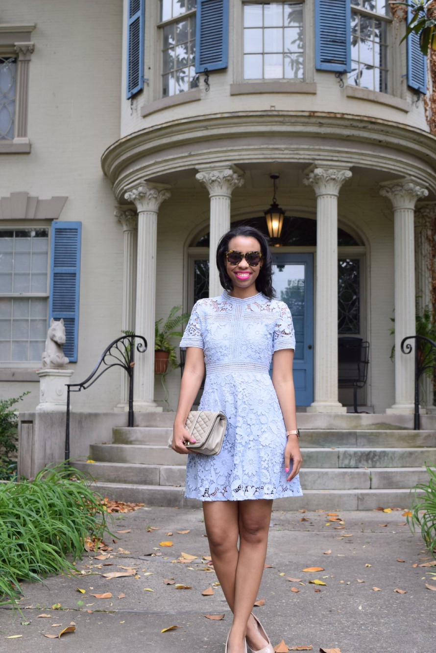 The Perfect Wedding Guest Outfit Lavender Lace Dress