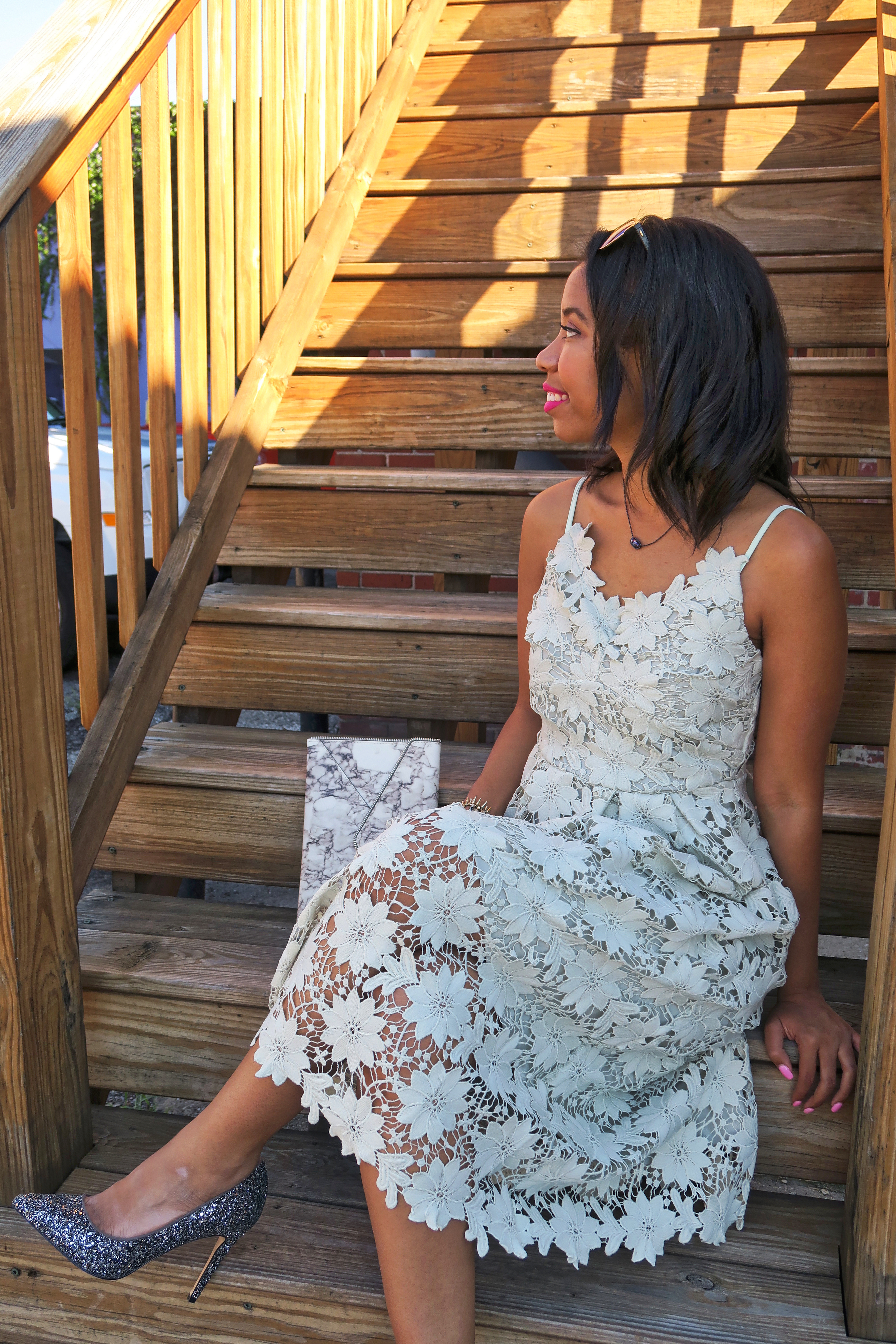 Kentucky blogger, What Nicole Wore, shares a lace midi dress that's perfect for summer weddings.