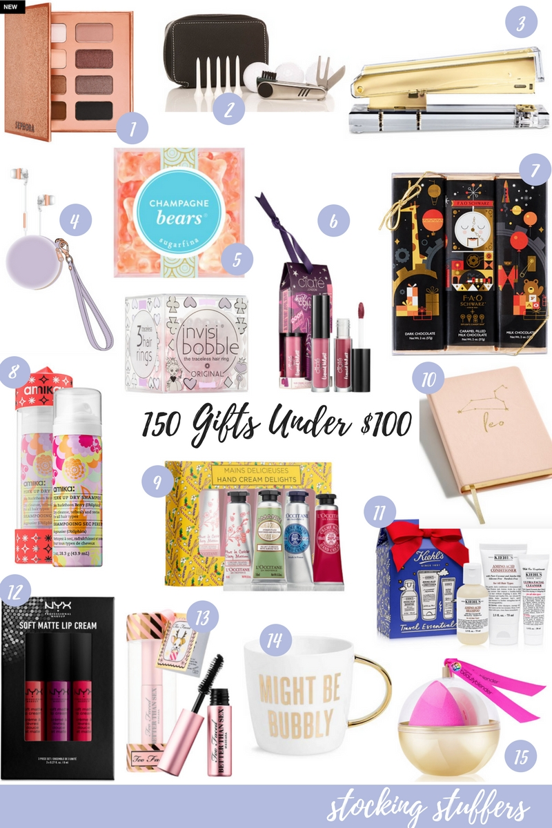 Just in time for Black Friday, the ultimate gift guide is here with 150 gift ideas under $100. Find an affordable present for everyone on your list! // stocking stuffers for her, stocking stuffers for teen girls, stocking stuffers for women, gifts under $25, affordable gift ideas, christmas 2017