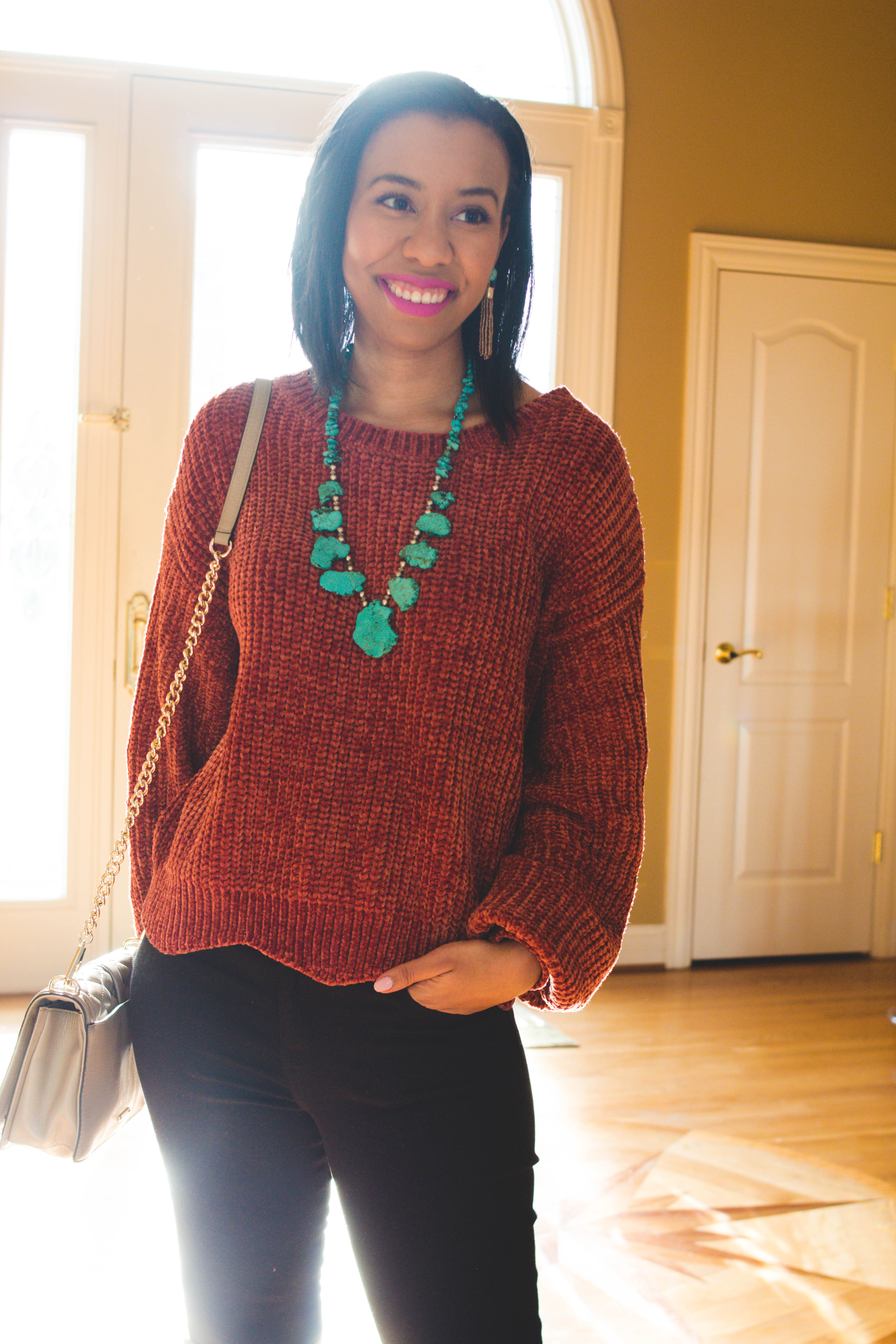 Winter got you stressed out? Learn tips for dealing with being overwhelmed plus a fun and unexpected color combo from lifestyle blogger, What Nicole Wore. // chenille sweater outfit ideas, burnt orange outfit, color combinations outfits, turquoise necklace chunky, nyx unicorn fur, it cosmetics brow power, turquoise necklace outfit