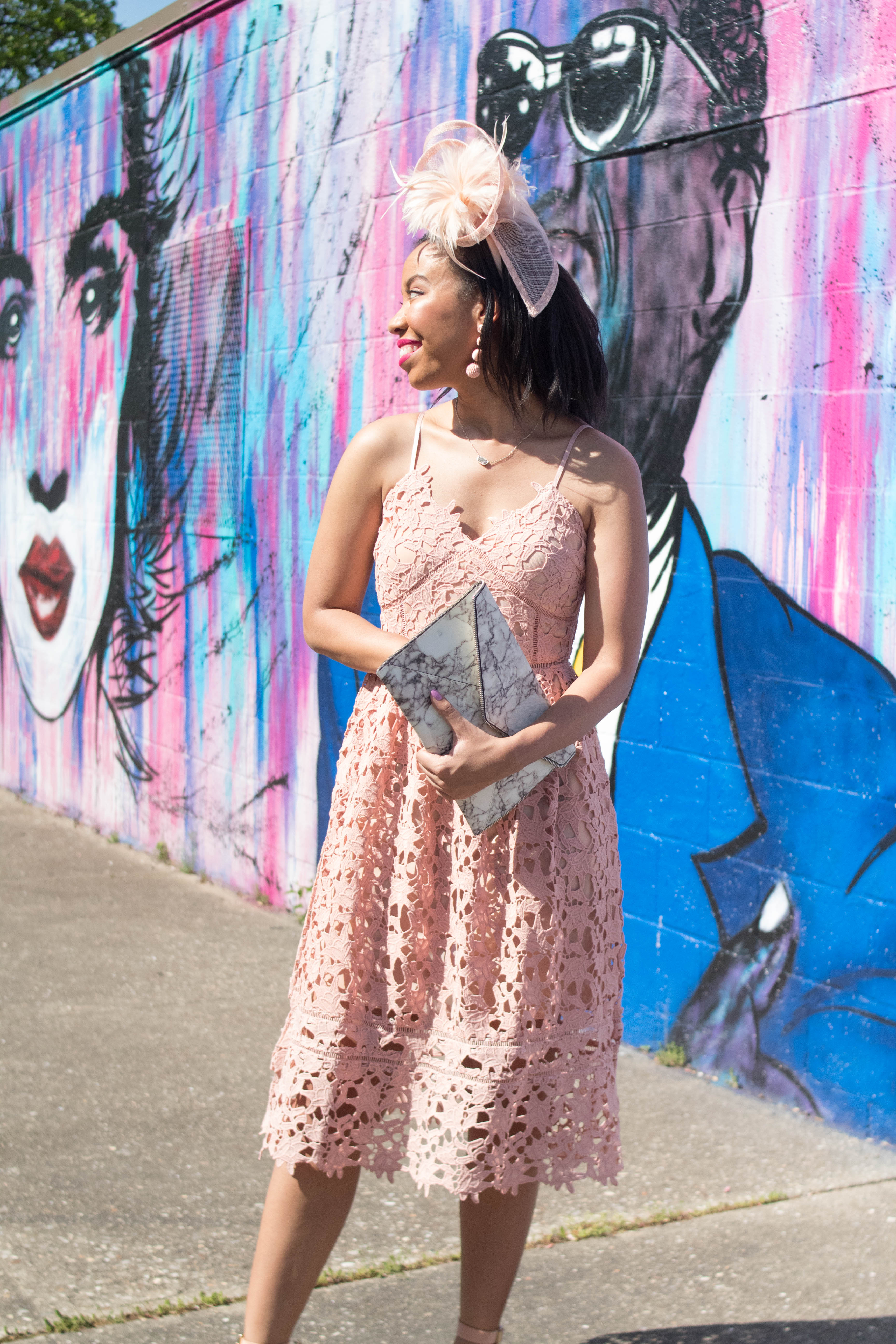 Make me blush! Kentucky blogger, What Nicole Wore, shares an outfit for Churchill Downs that's perfect for Kentucky Derby, Oaks, or Thurby! // rebecca minkoff leo clutch, wedding guest dress, kentucky derby party ideas, what to wear kentucky derby