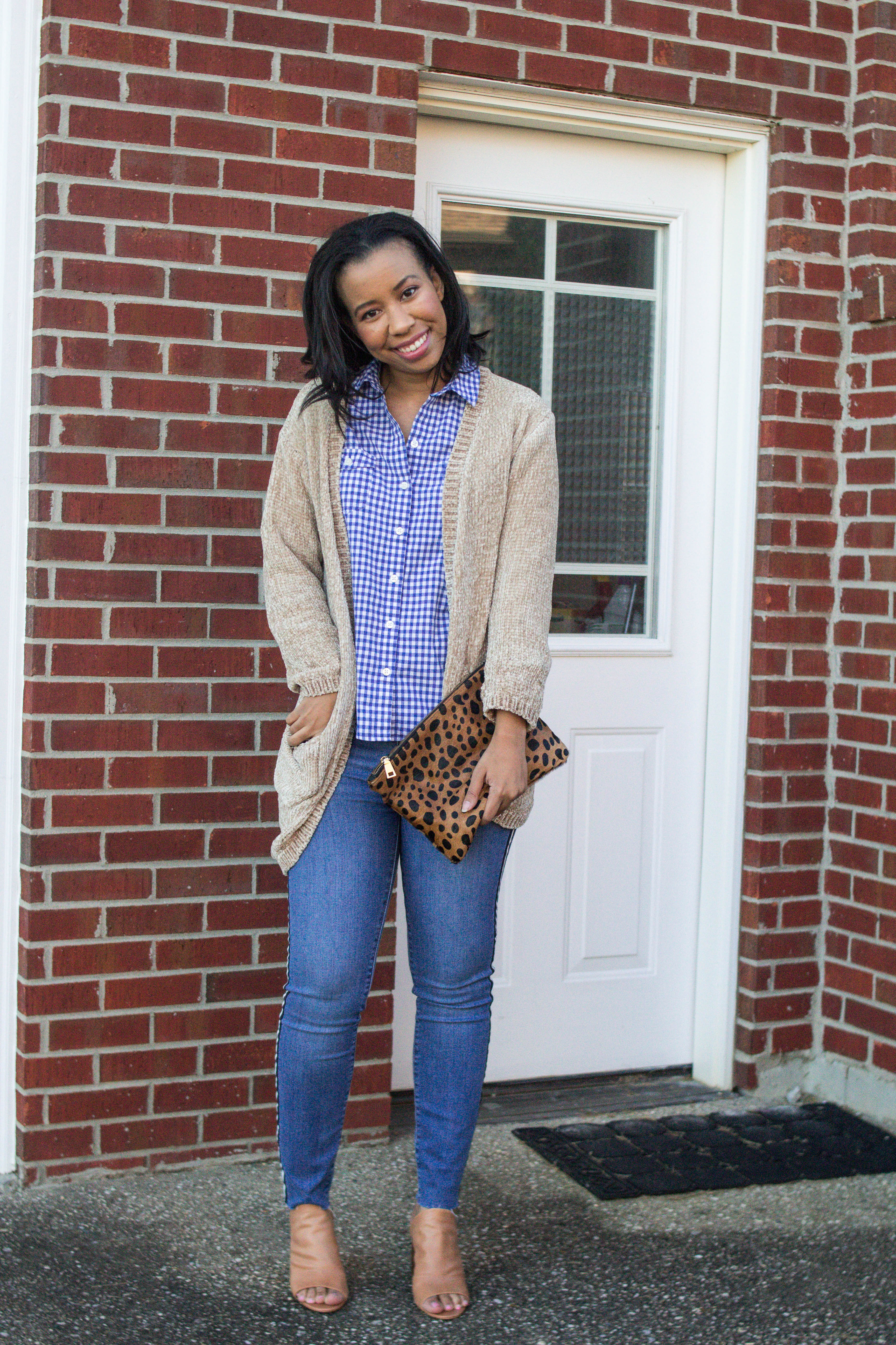 Louisville blogger, What Nicole Wore, shows how to take ten wardrobe staples and create twenty fall outfits with a fall capsule wardrobe. // gingham button down shirt outfit ideas, weekend outfits women, chenille sweater cardigan, gordmans outfit, loft outlet jeans, casual friday outfit idea