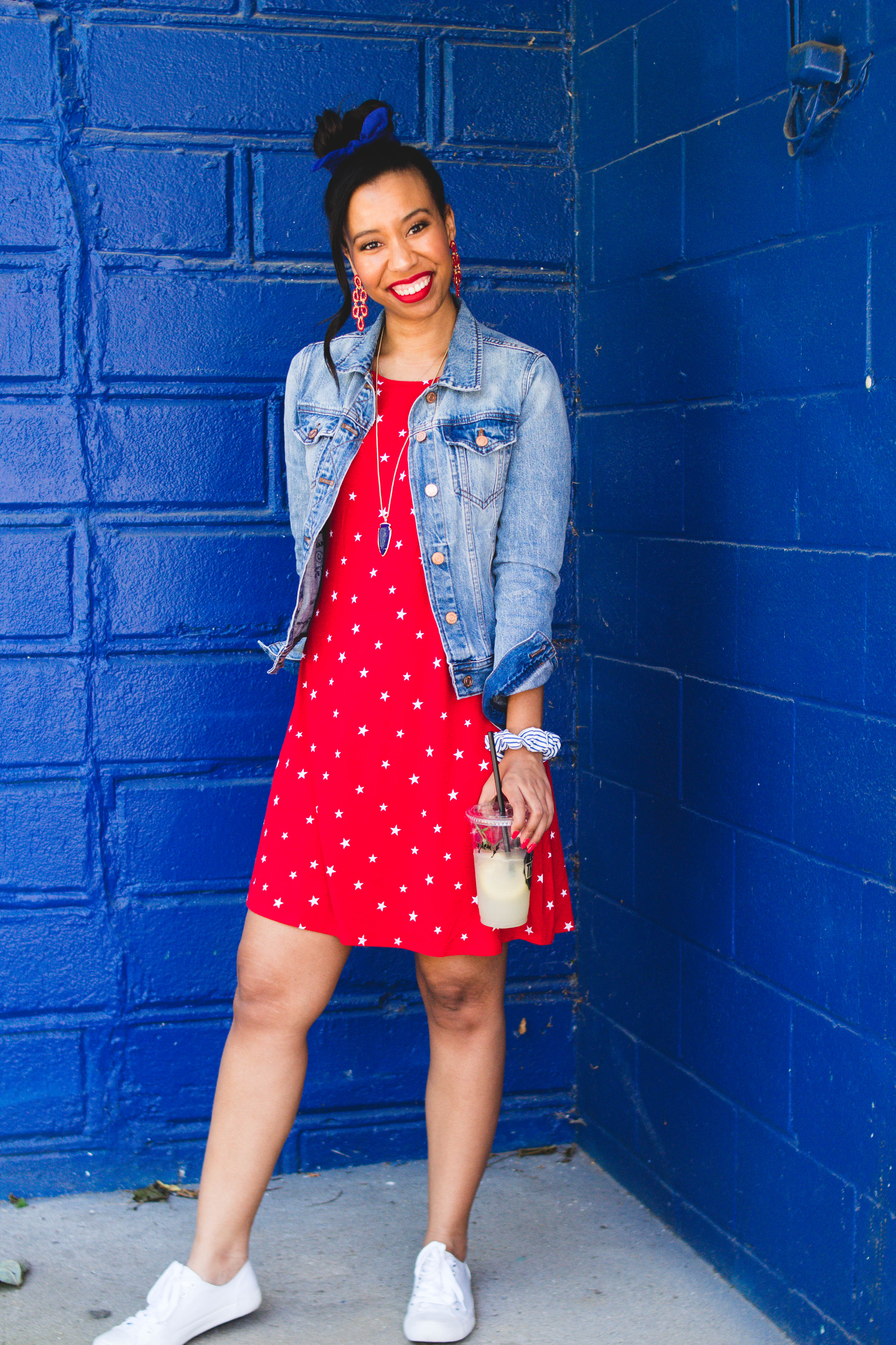 Still trying to figure out what to wear to your 4th of July BBQs? Louisville blogger, What Nicole Wore, shares an affordable red, white, and blue outfit. // red dress jean jacket, tshirt dress and jean jacket, denim jacket outfits, summer 2019 outfit for women, americana outfits, red white and blue clothes