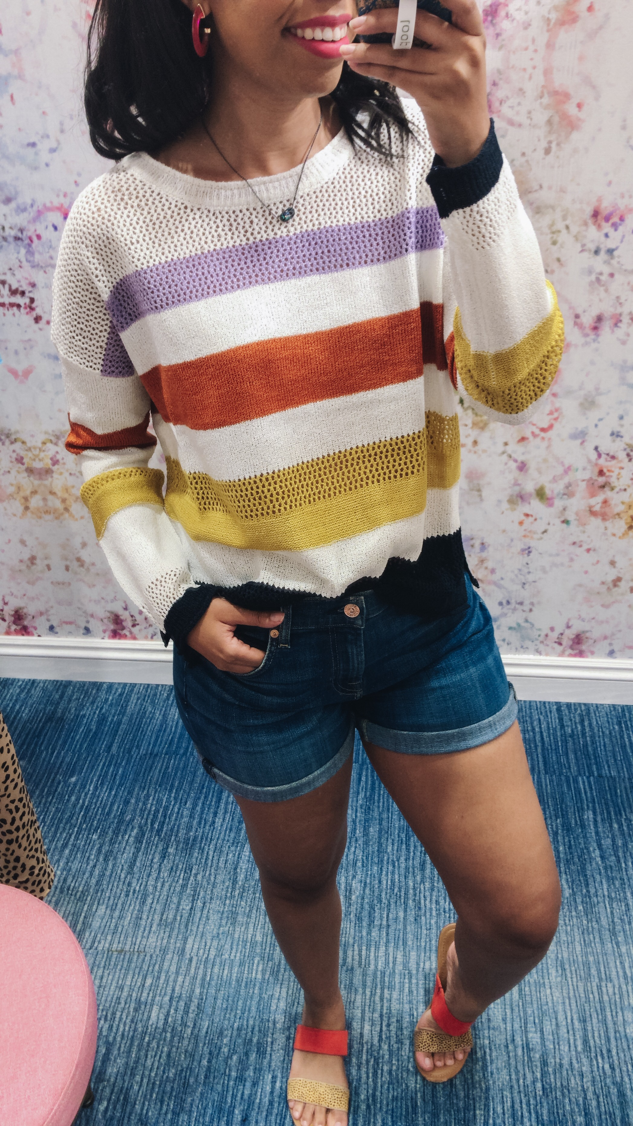 Louisville style blogger, What Nicole Wore, celebrates when Evereve opens in Kentucky by sharing new arrivals, how to wear them, and summer to fall outfits. // striped sweater outfit, summer sweater outfits, sweater outfits casual, jean shorts outfit summer, casual outfits women, evereve summer