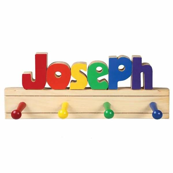 personalized children s wooden coat rack 1 6 letters