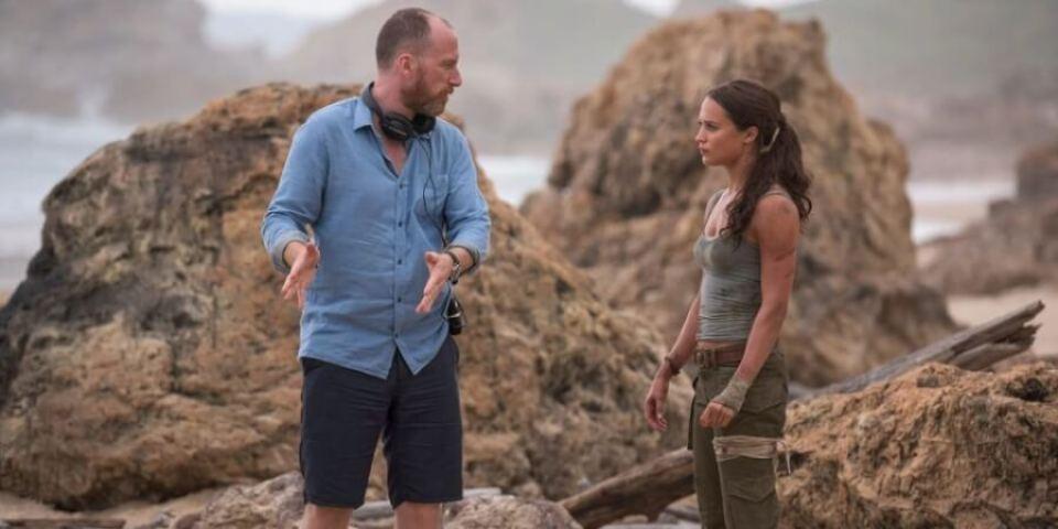 Roar Uthaug y Alicia Vikander filmando Tomb Riaider