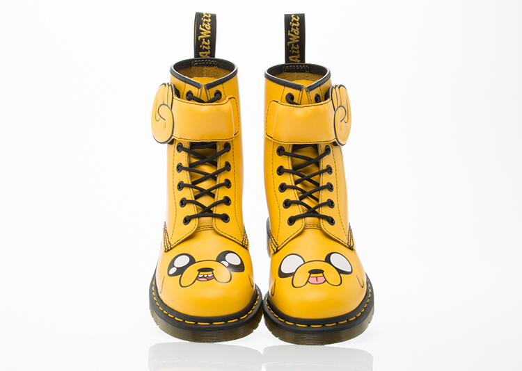 """d7d743a63bb The set of boots aptly called """"Dr. Martens x Adventure Time"""" will feature  main characters Finn the Human and Jake the Dog for all three designs."""
