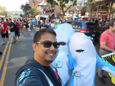 Katy Perry's Sharks walking around the Gaslamp District. (c) WAG