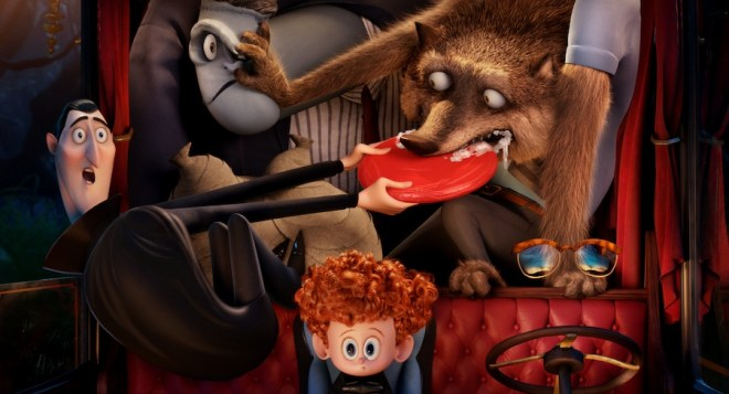 Dracula (Adam Sandler), Frank (Kevin James), Wayne (Steve Buscemi), Dennis (Asher Blinkoff) and Griffin the Invisible Man (David Spade) in Columbia Pictures and Sony Pictures Animation's HOTEL TRANSYLVANIA 2.