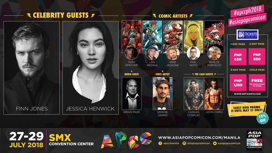 AsiaPOP Comicon Manila 2018: Finn Jones, Jessica Henwick Lead First Wave Of Guests!