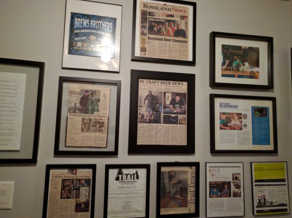 Press and Memorabilia on the bathroom wall