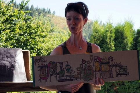 Frances Explaining Cider At BX Press
