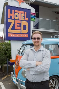 Victoria's Hotel Zed: our host Jon with the Z Sled