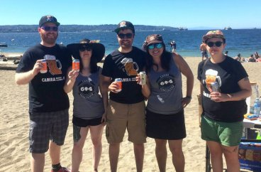 AUG 2017 - CAMRA Vancouver stages high-profile, peaceful public drinking demonstration at English Bay