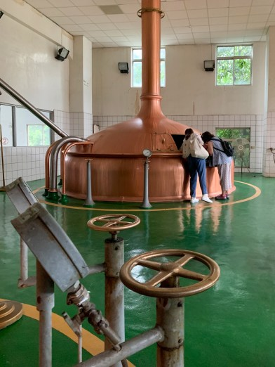 One of the historic brew kettles at Taipei Brewing