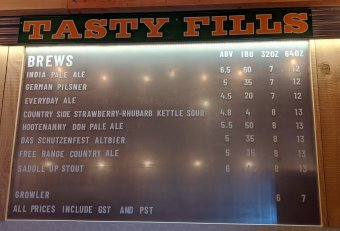 Farm Country Brewing beer menu on opening day