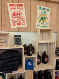 Farmer's Market merch area at Farm Country Brewing