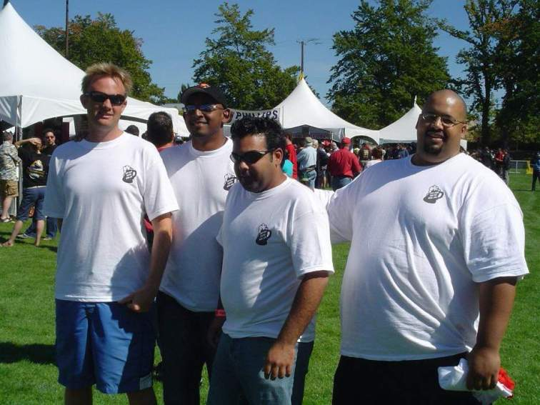 Just Here For The Beer pals scope out Great Canadian Beer Fest 2005: Kris Meisterman, Rick Mohabir, Zayvin Haqq, and Colin Jack