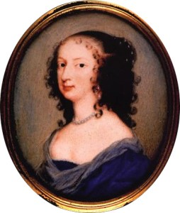 Oil potrait of Margaret Cavendish. Head-and-shoulders portrait, she is in 3/4 profile, her curly brown hair is loose down her shoulders, and she wears a low-cut off-the-shoulder dark blue gown and pearl necklace.