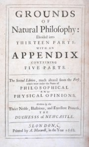 Title page of Grounds of Natural Philosophy by Margaret Cavendish, Duchess of Newcastle