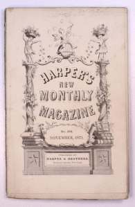 """The name of the magazine is surrounded by elaborate floral and """"triumphal arch"""" illustration"""