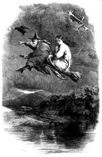 A 19th century engraving shows a stereotypical witch astride a broom, with a frightened-looking girl in a white dress riding behind. The two are flying over a dark river, with lightning and a raven or bat in the sky alongside them.