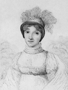 Black and white engraving of a woman in a white dress with high collar, and tall bonnet plumed with white feathers.