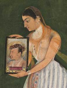 Nur Jahan in striped trousers, overskirt, and jewelry holds a stylized portrait of Emperor Jahangir