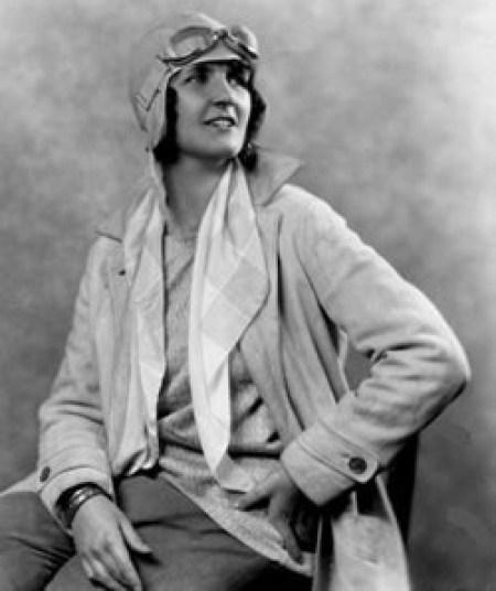 Ruth Rowland Nichols in her aviator cap and coat