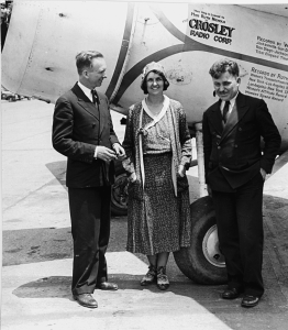 Ruth Nichols in front of her plane as she begins her flight across the Atlantic