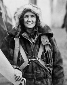 Ruth Nichols in her warm flight gear and fur cap