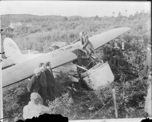 Ruth Nichols' plane after the crash in Canada