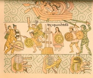 Indigenous and Spanish warrior battle as Malintzin looks on.