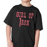 """A black t-shirt with the words """"girl of iron"""" in pink lettering. The """"I"""" in iron is a railroad spike. for for Ogden Audio History Tours"""