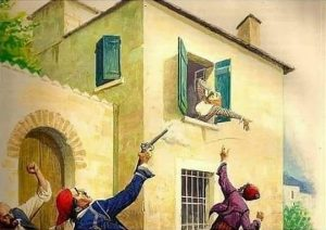 A painting of men brandishing revolvers at a woman who leans out of a window, having just been shot.