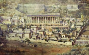 A drawing depicts an ancient Greek temple surrounded by other buildings