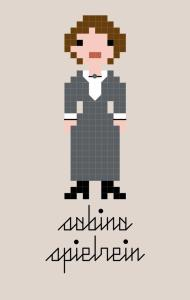 """Pixel"" style cross stitch pattern of a woman with brown hair in grey dress"