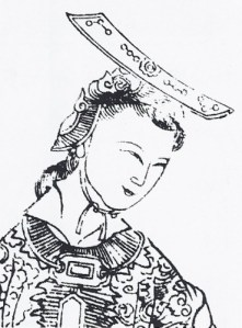 An etching of Wu Zhao / Wu Zetian, aChinese woman in elaborate robe and flat-topped hat, looking downward and to the left.