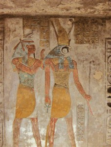 Relief of Horus and Geb from Tawosret's tomb KV14