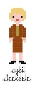 pixel-style cross-stitch pattern of Sybil Stockdale