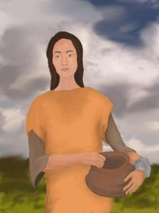 Reconstruction portrait of Cranborne Woman. She has dark hair, lightish skin, a long thin nose, full lips, and wears a simple leather shift and carries a pot.