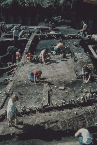 Archaeologists working on an archaeological dig in a shot taken from a higher spot. Walls and gravesites are marked out.