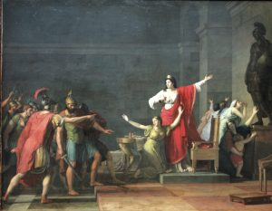 Oil portrait of Olympias in regalia awaiting the invading Cassander and his armies, who approach from the left.