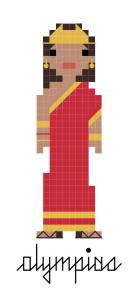 Pixel-style cross-stitch pattern of Ancient Greek Queen Olympias