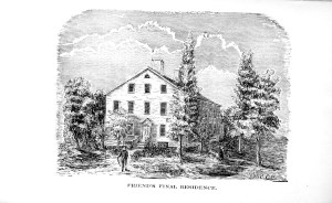And engraving of a three-story white home surrounded by trees.