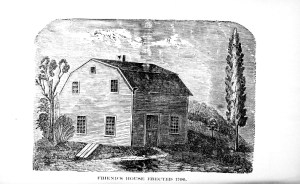 Engraving of a small barn-shaped plank home with door and one window on the front.